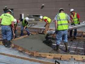 Students from Pittsburg State University construct a concrete tilt-up panel. Photo courtesy of Dr. Randall Timi.