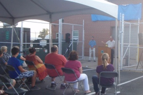 Village of Enon Mayor, Tim Howard speaks at the water treatment plant renaming event.