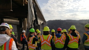 Engineering students from Lakota East High School tour the Jeremiah Morrow Bridge project.
